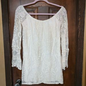 Off the shoulder lace tunic